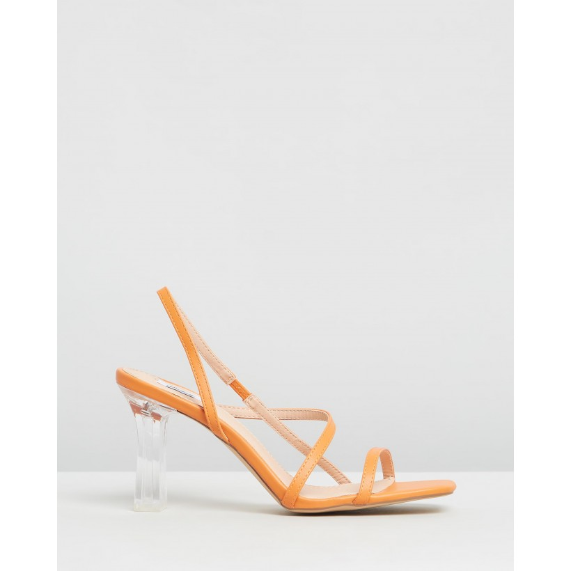 Martha Heels Tangerine Smooth by Dazie