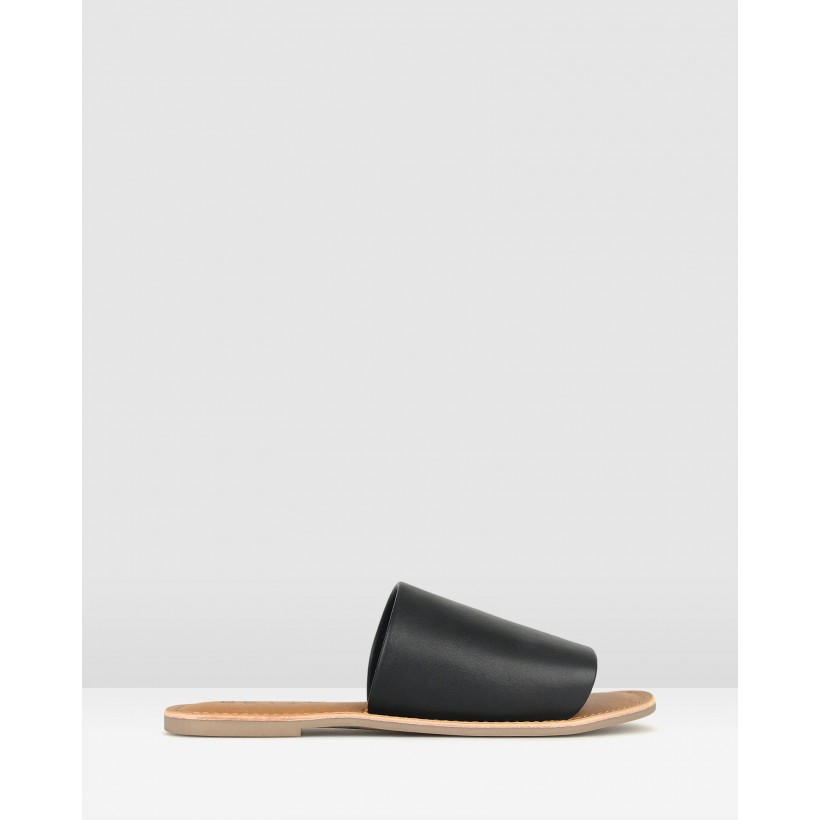 Maui Slip On Leather Sandals Black by Betts