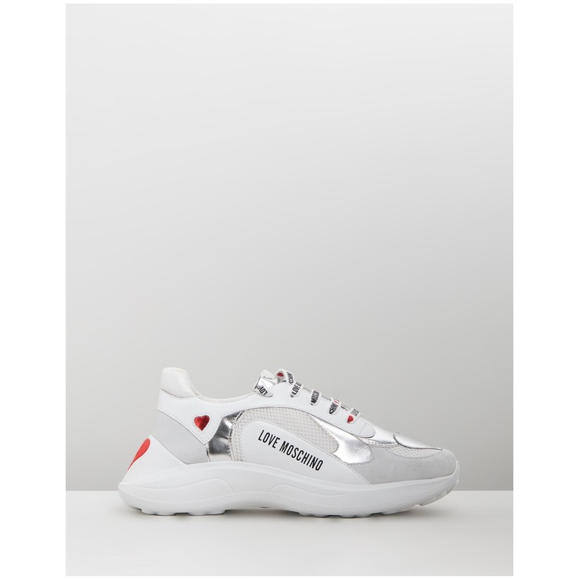 Mesh Heart Sneakers White & Silver by Love Moschino