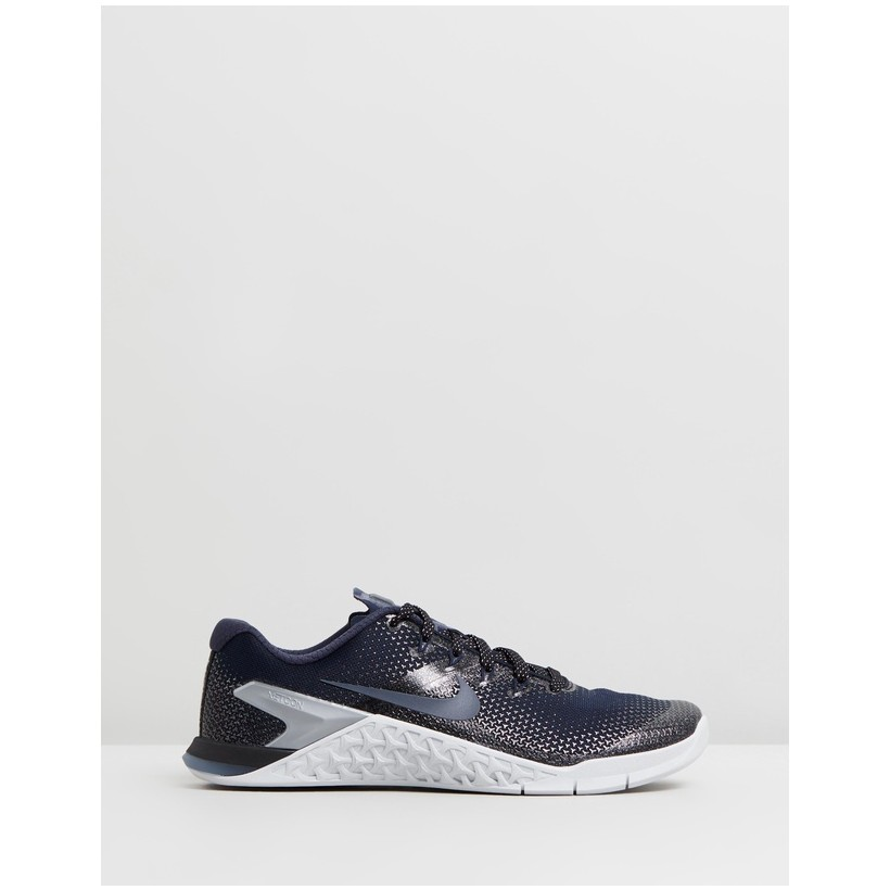 Metcon 4 - Women's College Navy, Black, Pure Platinum, & Armory Blue by Nike