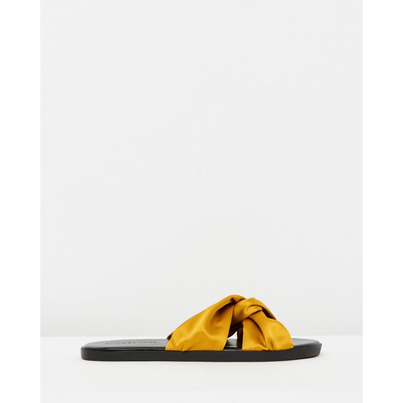 Mia Satin Sandals Mustard Satin by Atmos&Here