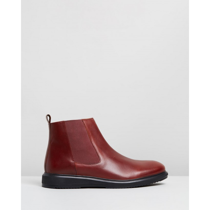 Mikey Leather Gusset Boots Bordo by Double Oak Mills