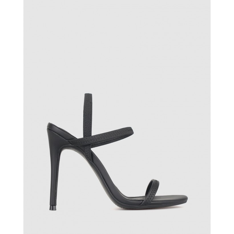 Neela Elastic Strappy Stiletto Sandals Black by Zu