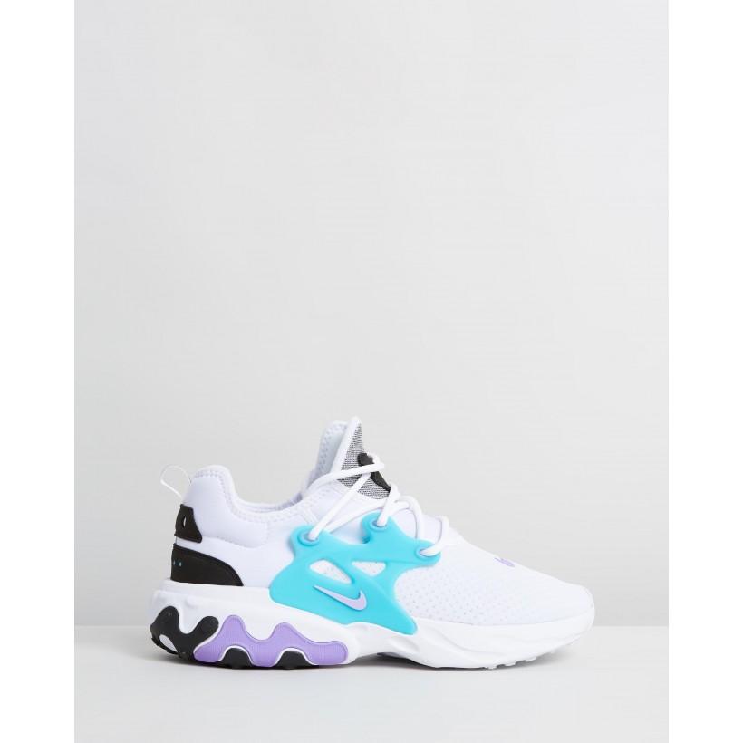 Nike React Presto - Men's White, Night Maroon, Black & Atomic Violet by Nike
