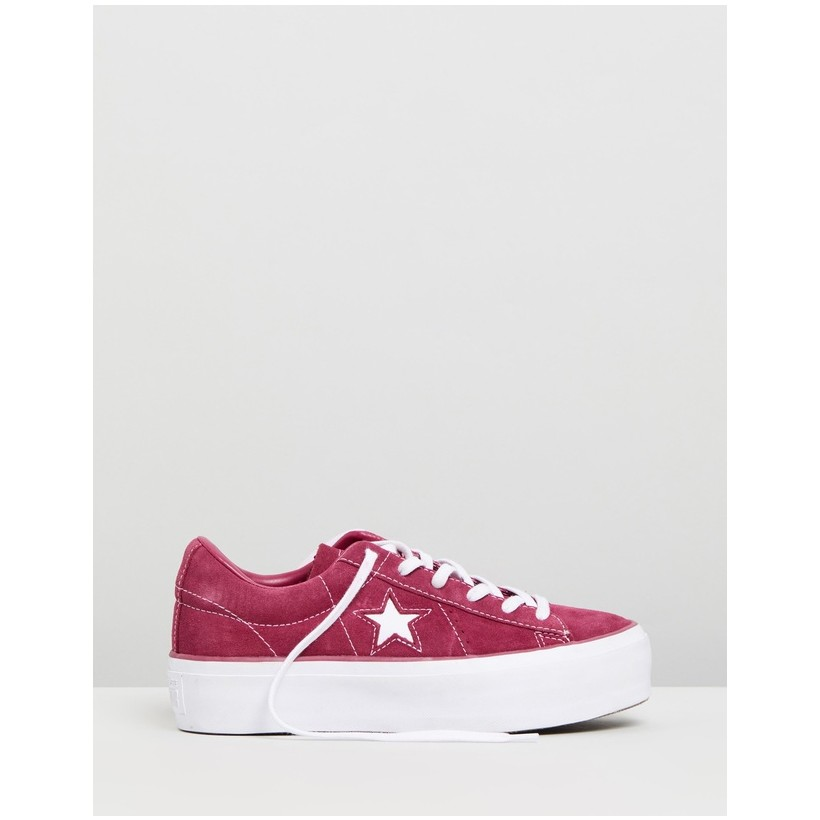 One Star Platform Ox - Women's Rhubarb & White by Converse