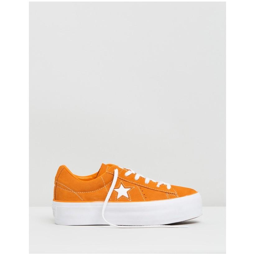 One Star Platform Sneakers Ox - Women's Field Orange & White by Converse