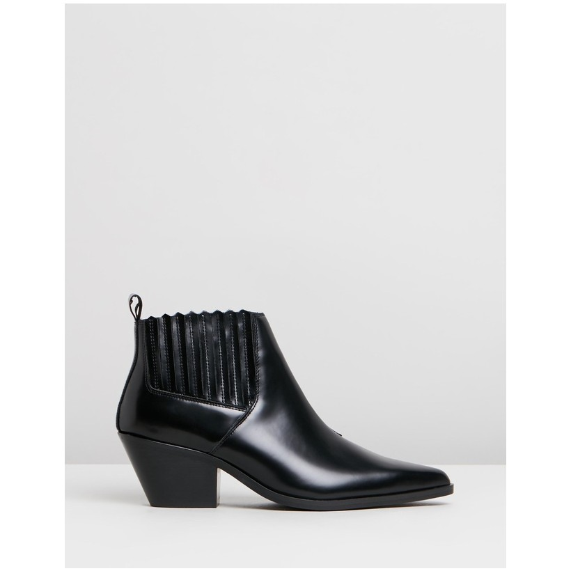 Ordeal Leather Ankle Boots Black Box Leather by Atmos&Here