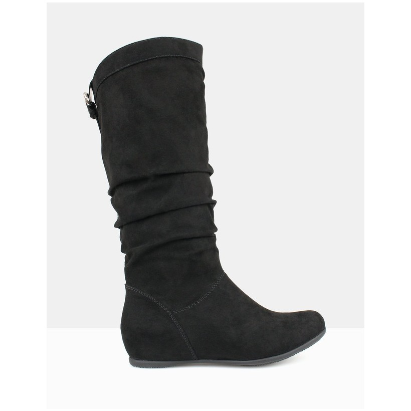 Oxley Ruched Knee-High Boots Black by Betts