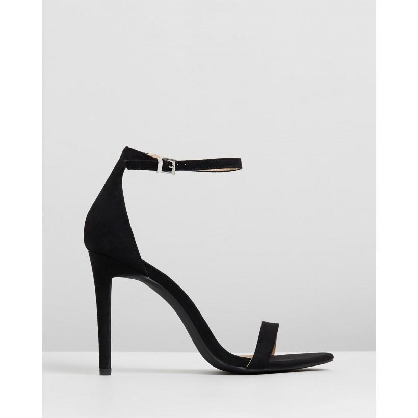 Paradis Heels Black Microsuede by Spurr