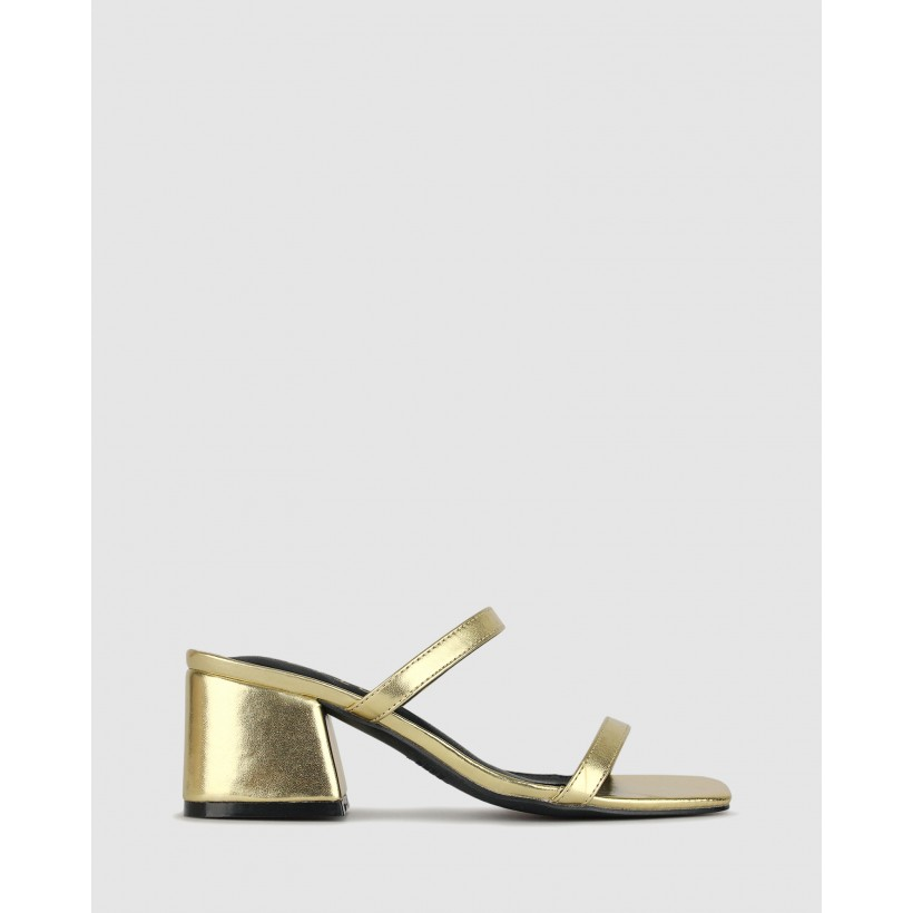 Pascal Block Heel Sandals Gold by Betts