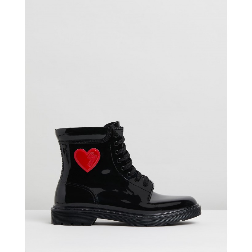 Patent Lace-Up Ankle Boots Black by Love Moschino