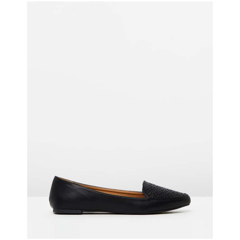 Peta Point Loafers Black Perforated PU by Rubi