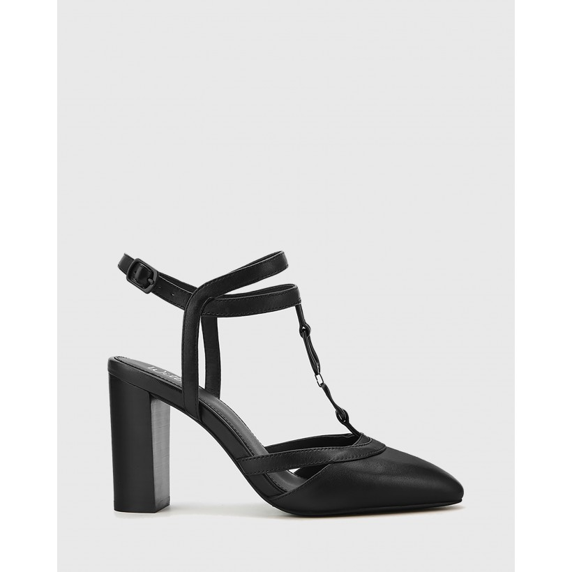 Petrona Leather Block Heel Ankle Strap Pumps Black by Wittner