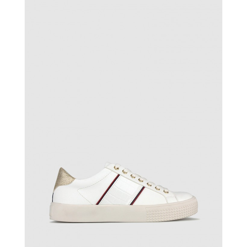 Piper Lifestyle Sneakers White Croc/Gold by Betts