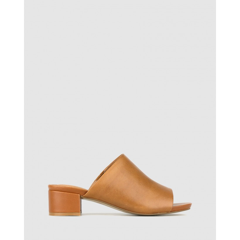 Playground Leather Block Heel Mules Tan by Airflex