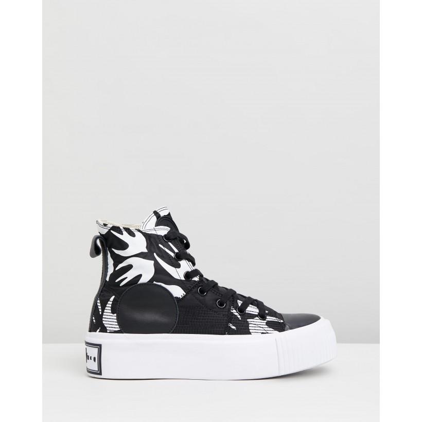 Plimsoll Platform Hi Sneakers Black & White by Mcq By Alexander Mcqueen