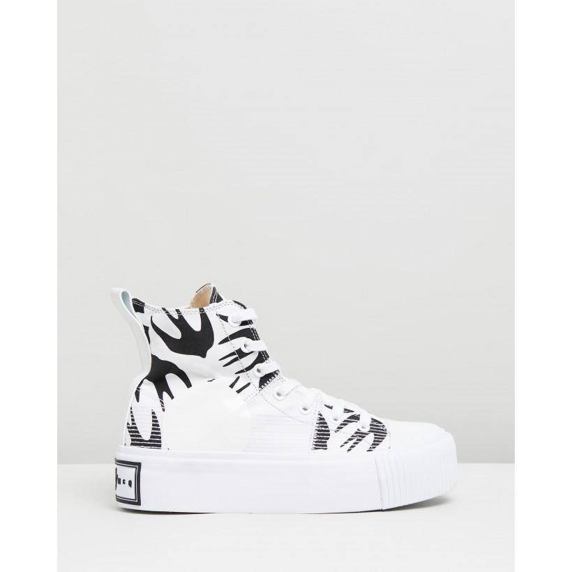 Plimsoll Platform Hi Sneakers White & Black by Mcq By Alexander Mcqueen