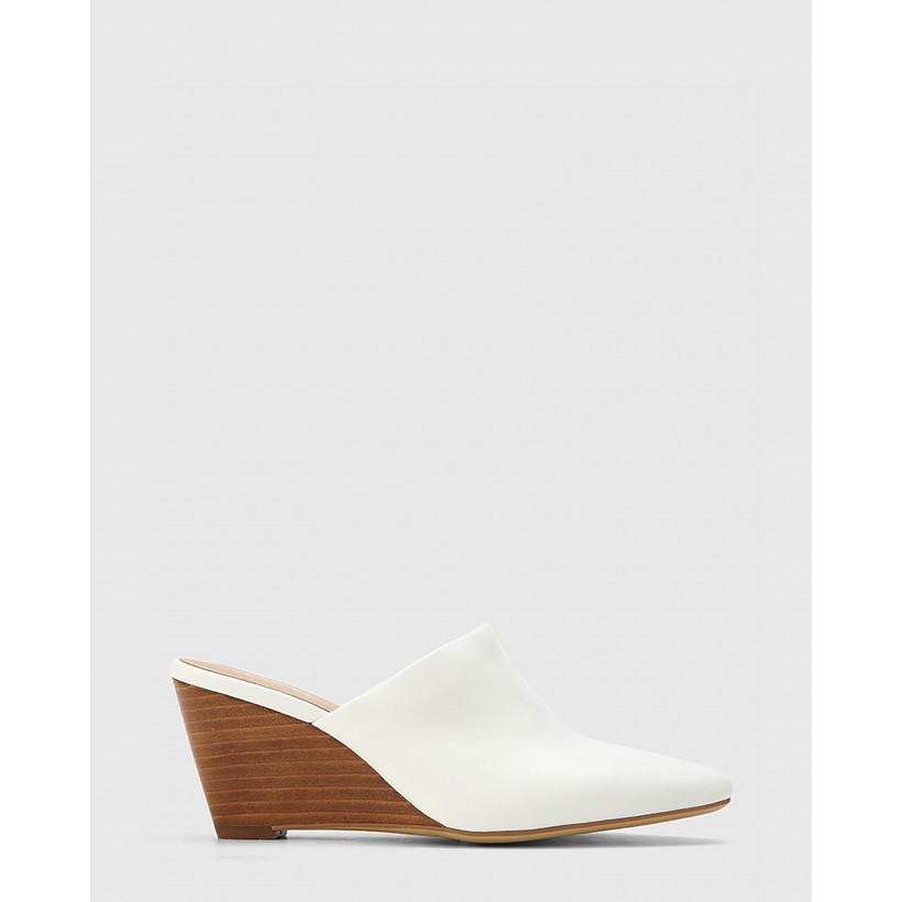 Polina Leather Snib Toe Wedge Mules White by Wittner
