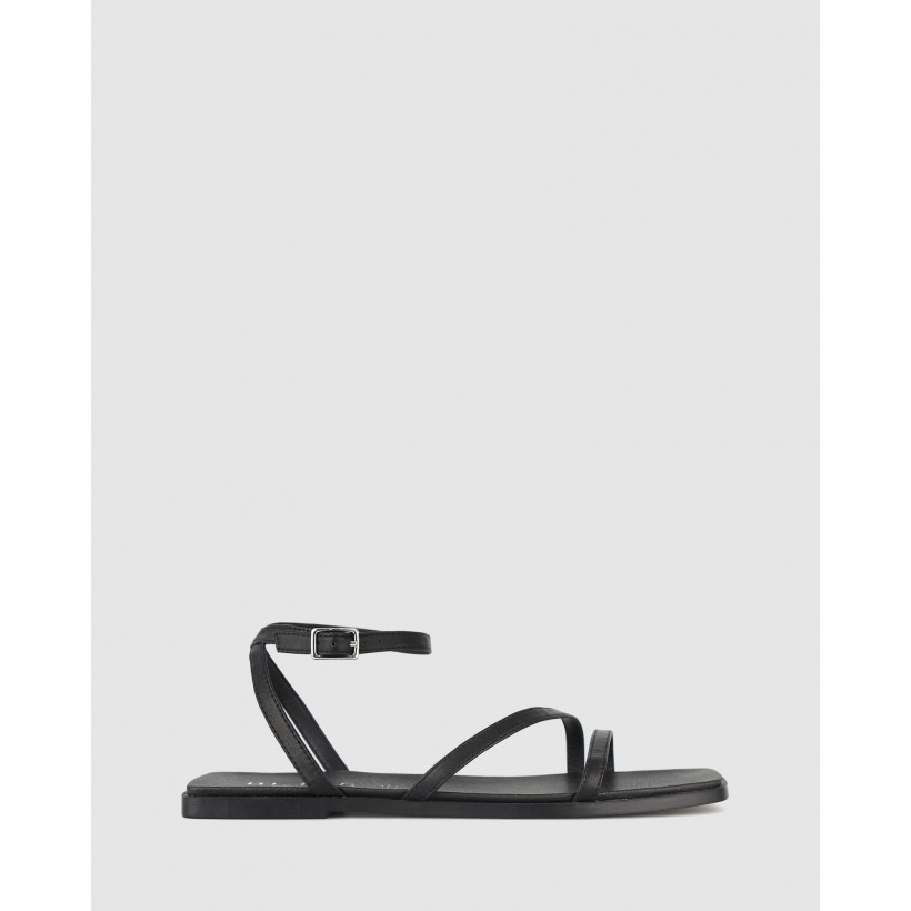 Pop Square Toe Strappy Sandals Black by Betts
