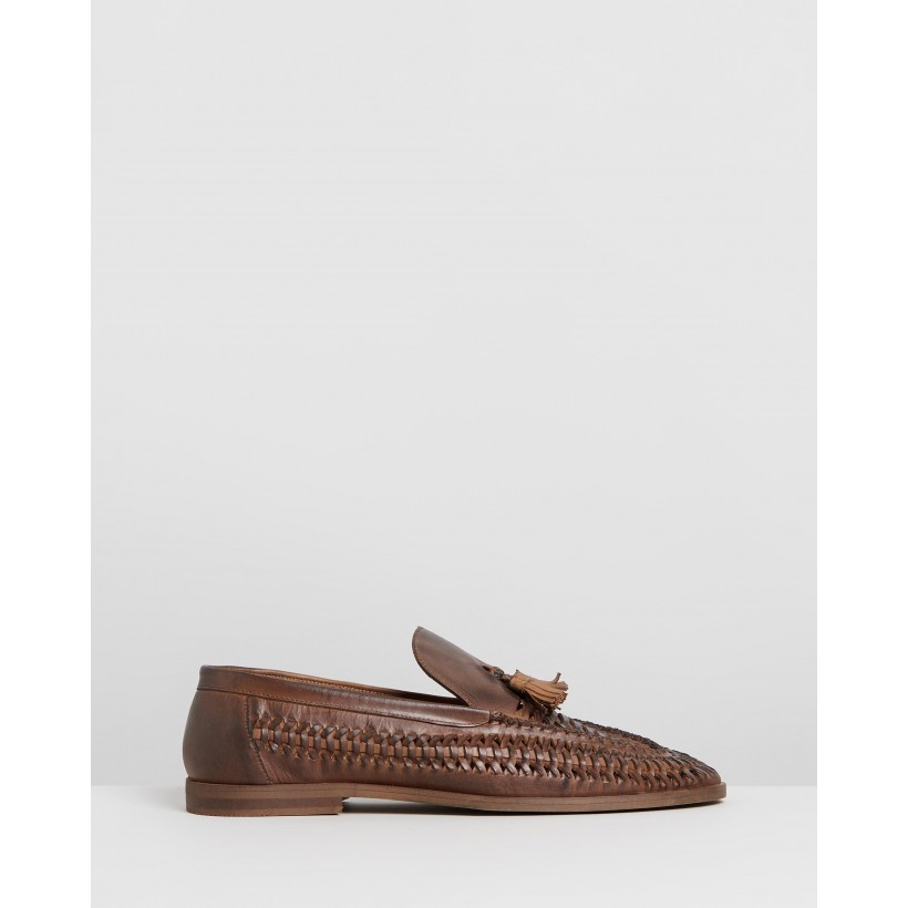 Rafael Leather Tassel Loafers Brown by Staple Superior