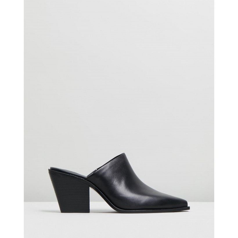 Ranch Heel Leather Mules Black by M.N.G