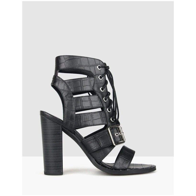 Respect Lace Up Block Heels Black Croc by Betts