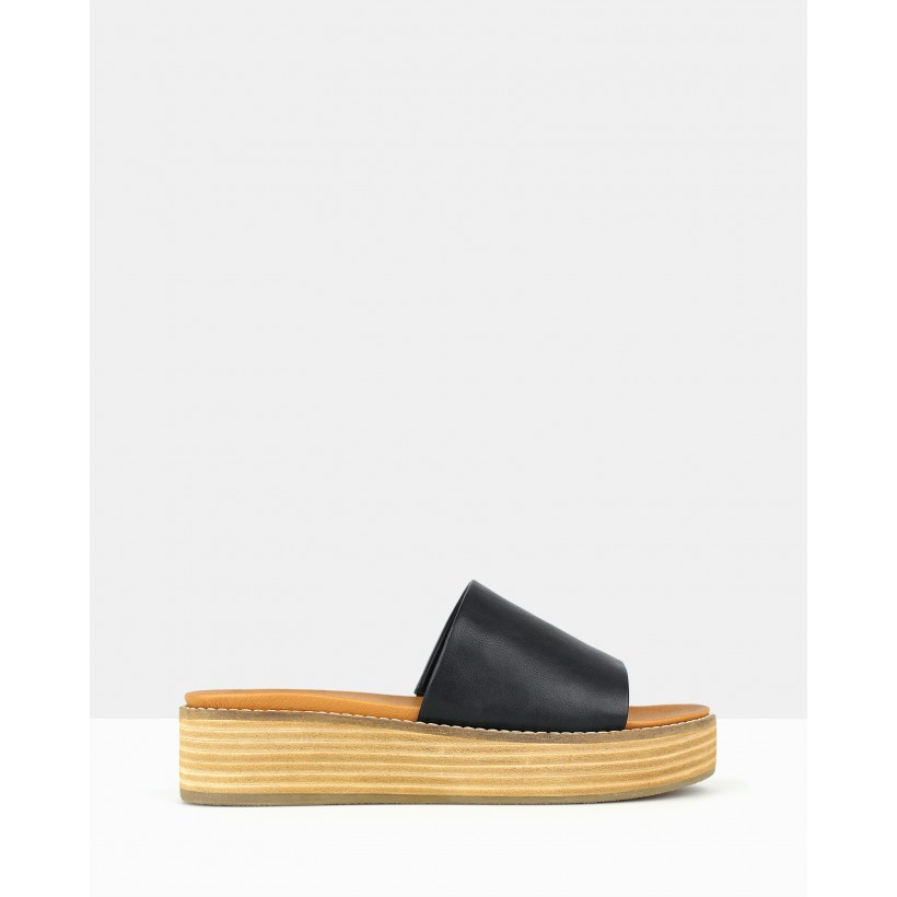Revolve Slip On Wedge Sandals Black by Betts