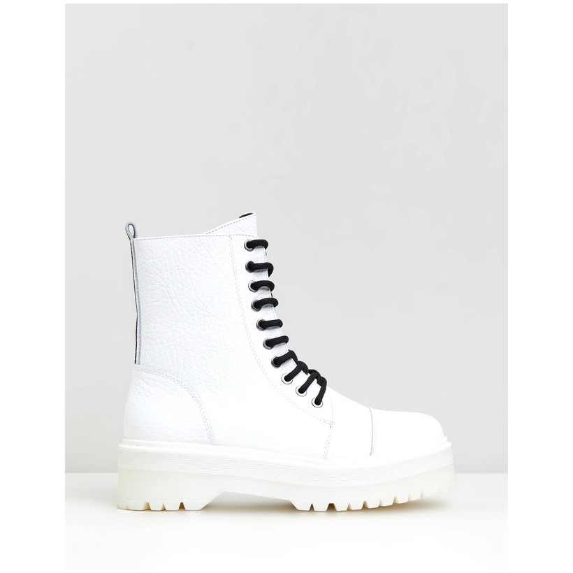 Rifka Super Chunky Leather Ankle Boots White by Bronx