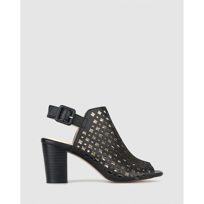 Rustic Leather Block Heel Sandals Black by Airflex