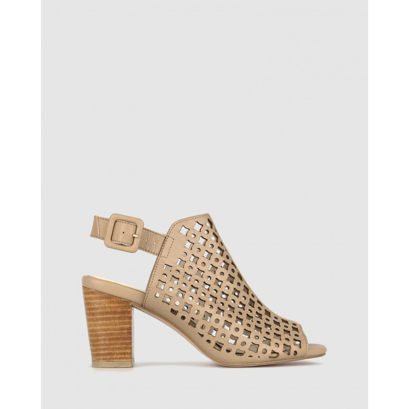 Rustic Leather Block Heel Sandals Camel by Airflex