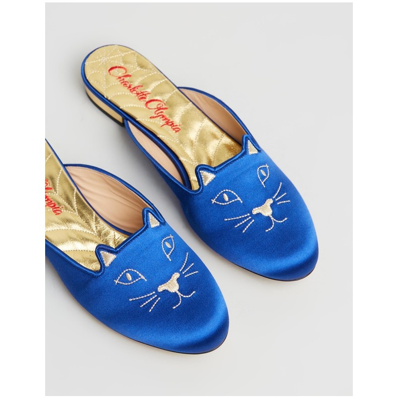 Sabot Kitty Mules Blue & Gold by Charlotte Olympia