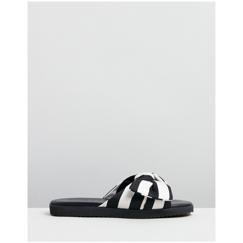 Sadie Bow Slides Black Cream Stripe by Walnut Melbourne