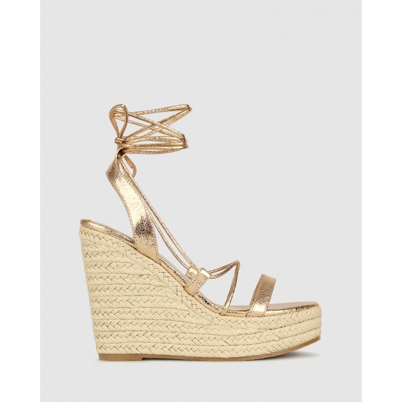Saint Wedge Platform Sandals Rose Gold by Betts