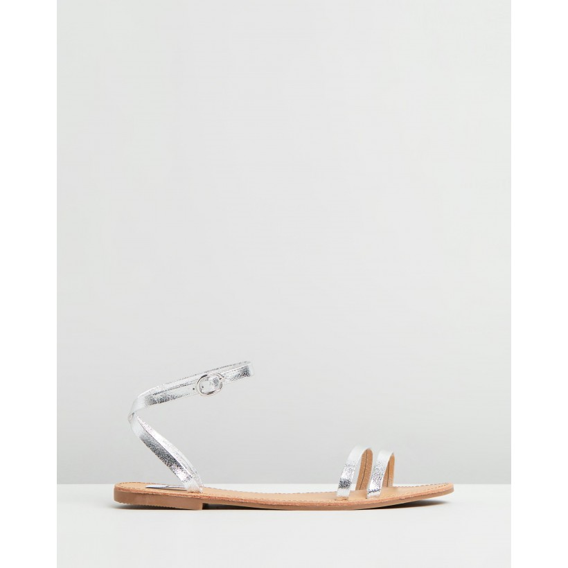 San Andreas Sandals Silver Metallic Smooth by Dazie