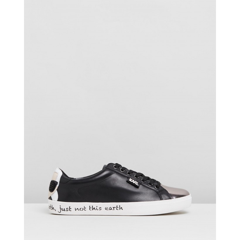 Skool Ikon Counter Lo Sneakers Black Leather by Karl Lagerfeld