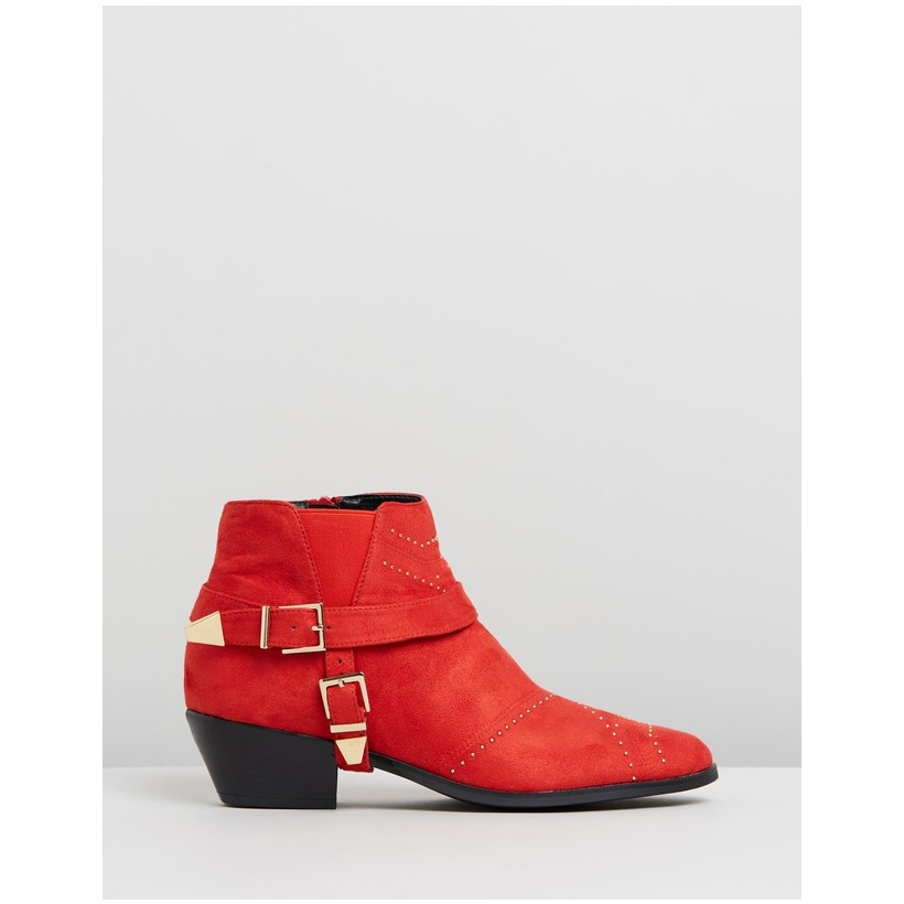 Sophie Ankle Boots Red Microsuede by Spurr