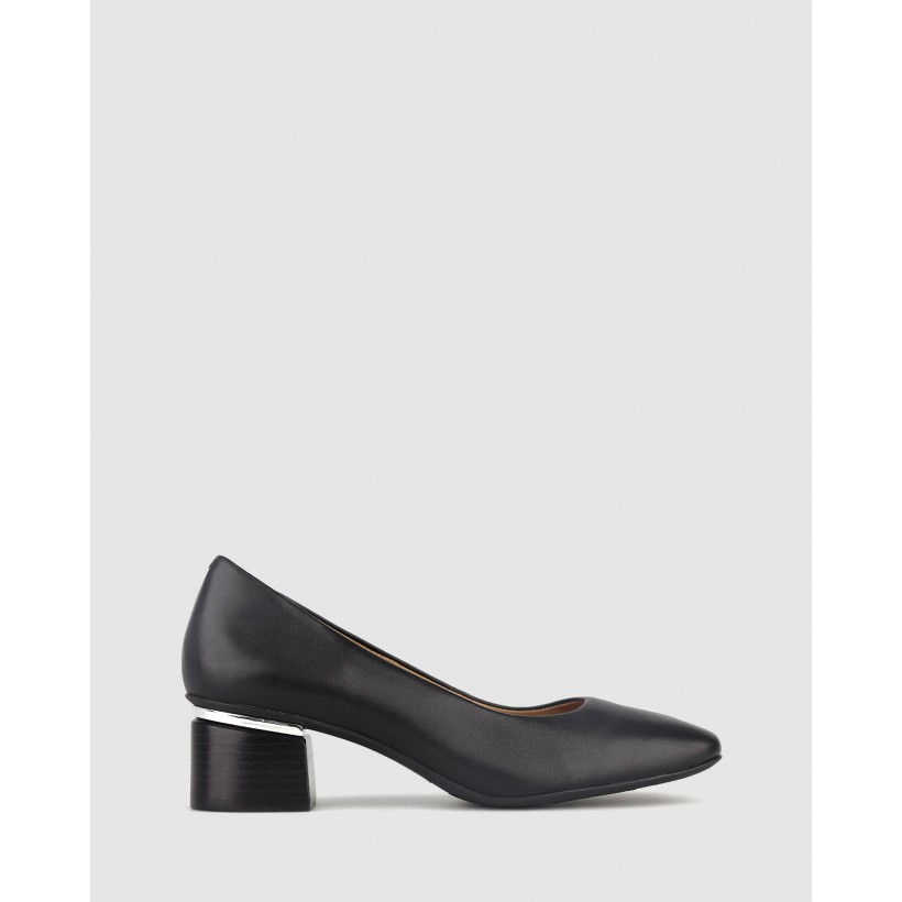 Stunning Square Toe Leather Pumps Black by Airflex