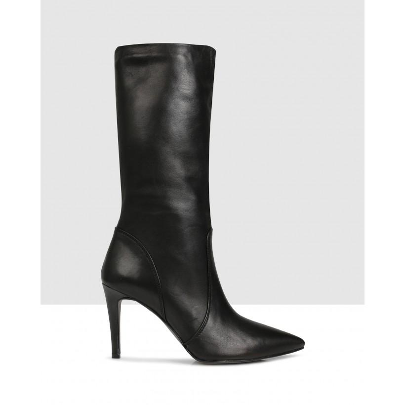 Sybella Mid Calf Boots Black by Sempre Di