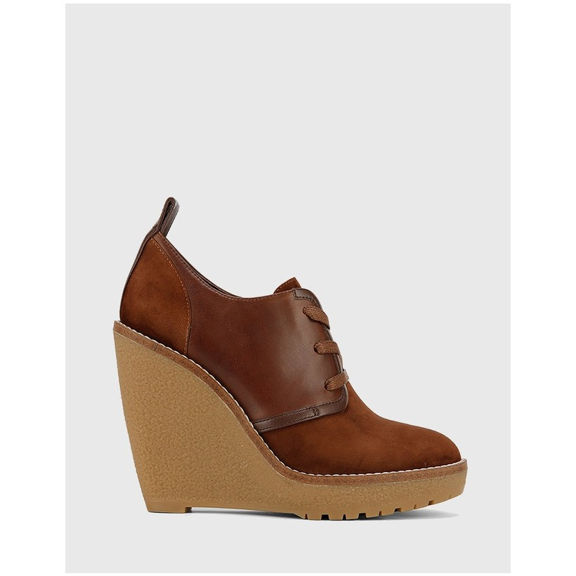 Tablyn Round Toe Lace Up Wedge Booties Brown by Wittner