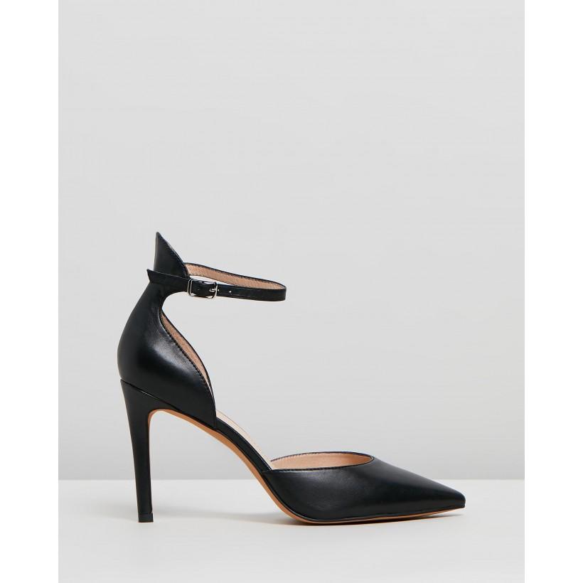 Tamora High Heels Black Leather by Jo Mercer