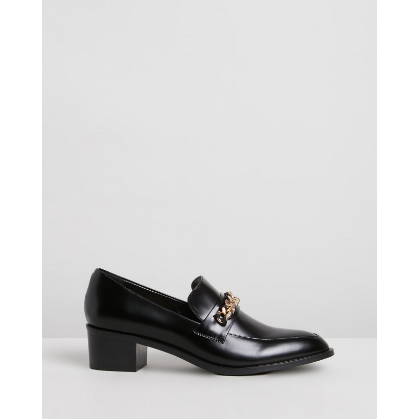 Tara Leather Loafers Black Polished Leather by Atmos&Here