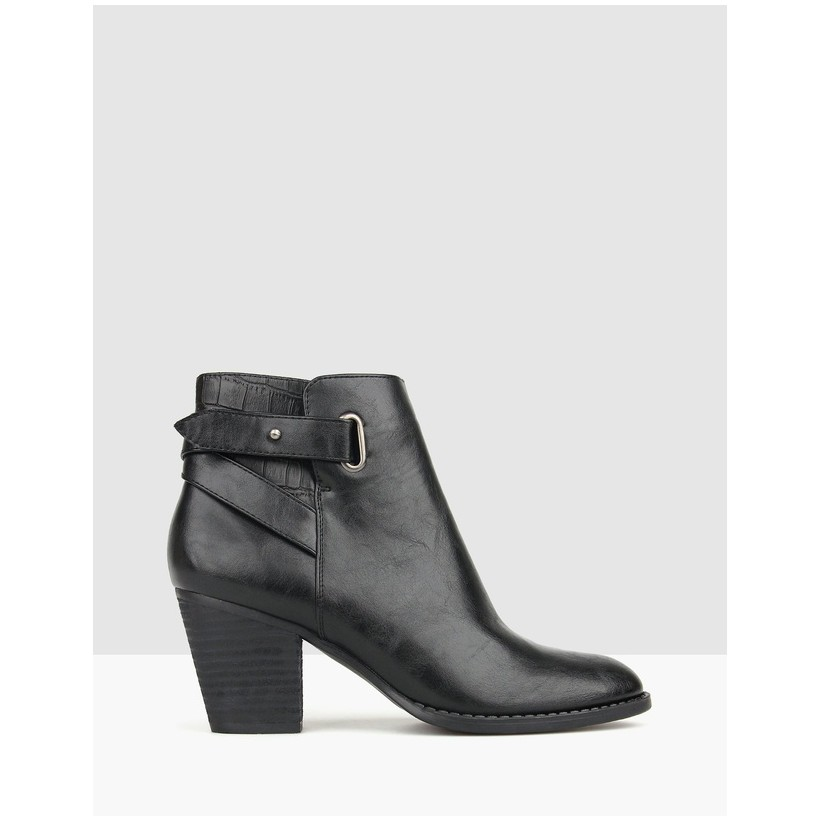 Texas Block Heel Ankle Boots Black by Betts