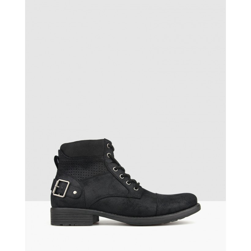 Thunder Lace Up Combat Boots Black by Betts