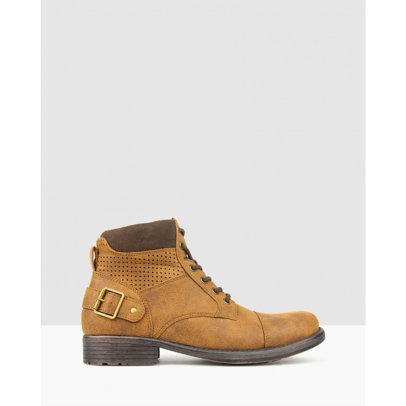 Thunder Lace Up Combat Boots Tan by Betts