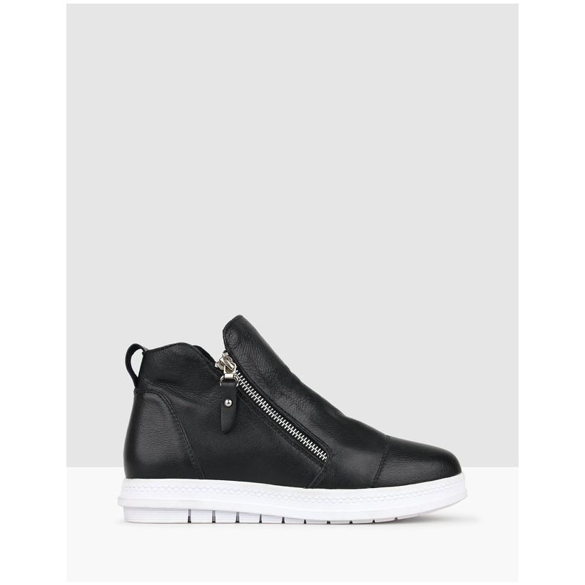 Tommie Leather Platform Boots Black by Airflex