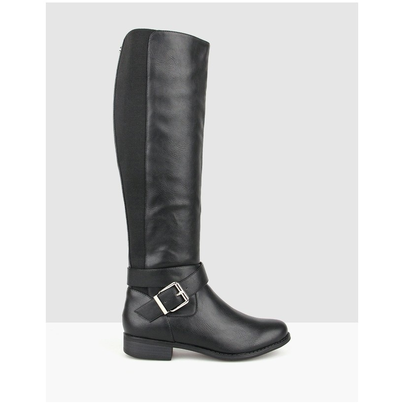 Unity Buckle Knee High Boots Black by Betts