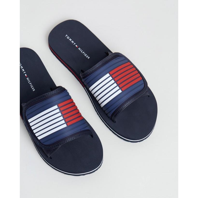 Velcro Strap Beach Sandals Midnight by Tommy Hilfiger