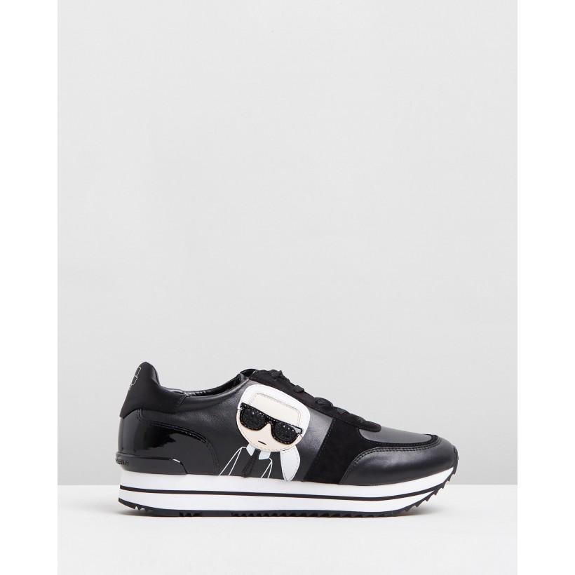 Velocita II Karl Ikonic Meteor Sneakers Black Leather & Suede by Karl Lagerfeld
