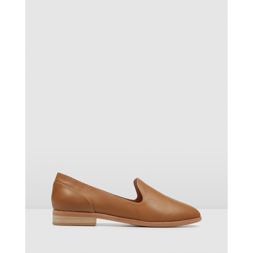 Vicky Casual Flats Tan Leather by Jo Mercer