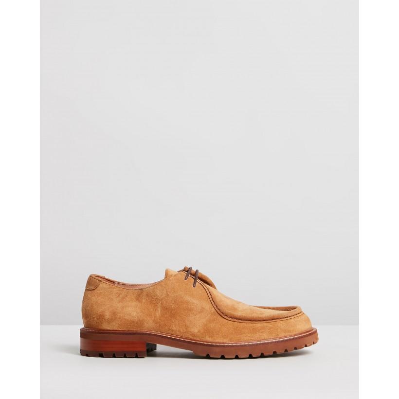 Werth Suede Derby Shoes Tan by Double Oak Mills